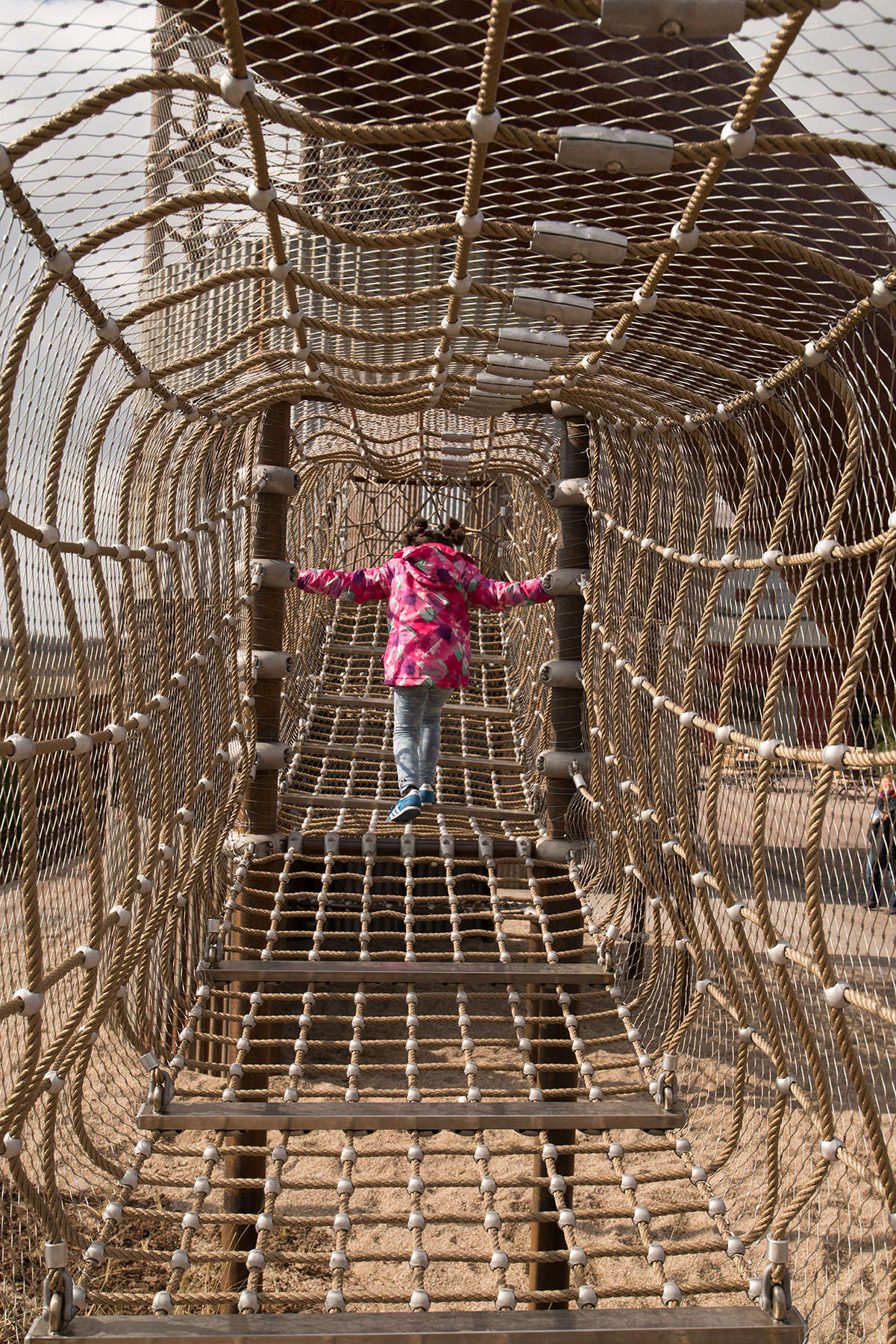Net tunnel connects the climbing tower with a terrace
